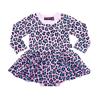 PINK LEOPARD BABY WAISTED DRESS