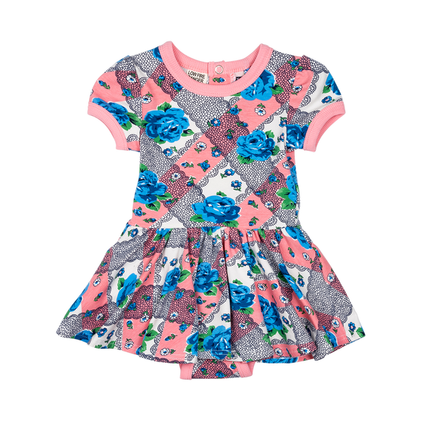 STRIPED ROSES BABY WAISTED DRESS
