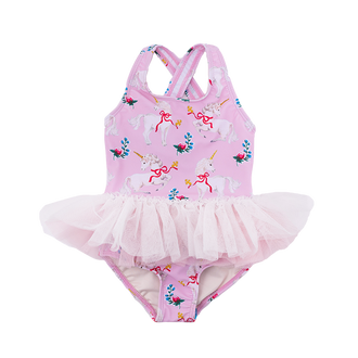 UNICORN RIBBONS BABY TULLE ONE-PIECE SWIMSUIT