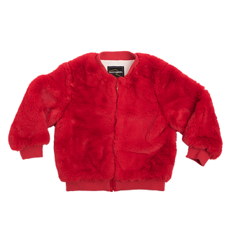 RED FAUX FUR BOMBER JACKET