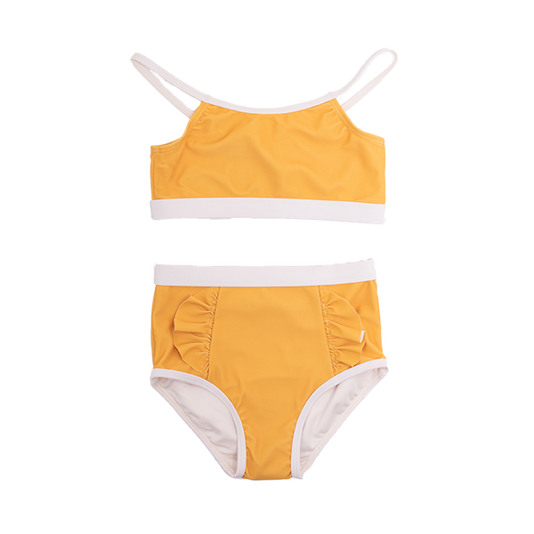 MUSTARD FRILL HIGH WAISTED BIKINI