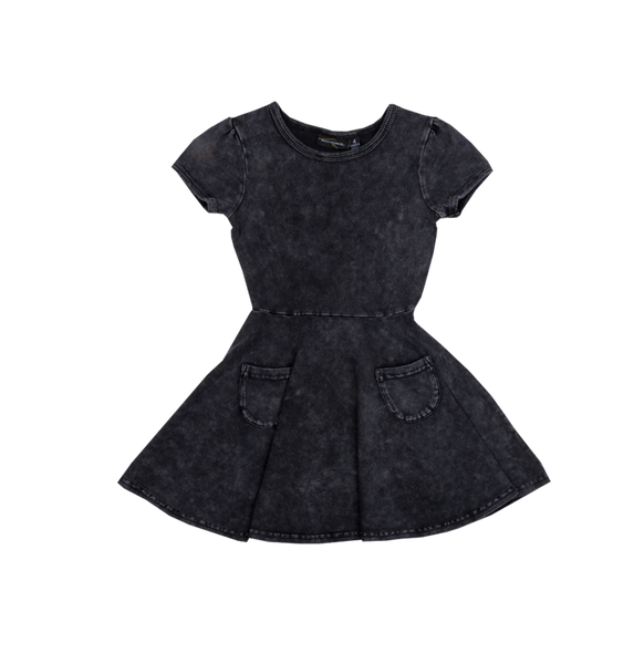 SIOUXSIE ACID WASH DRESS - BLACK