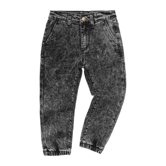 BLACK ACID WASH DENIM JEANS