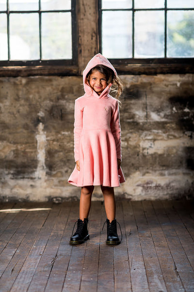 PINK HOODED WAISTED DRESS