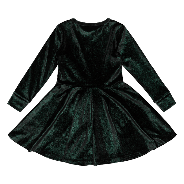 GREEN VELVET GLITTER WAISTED DRESS