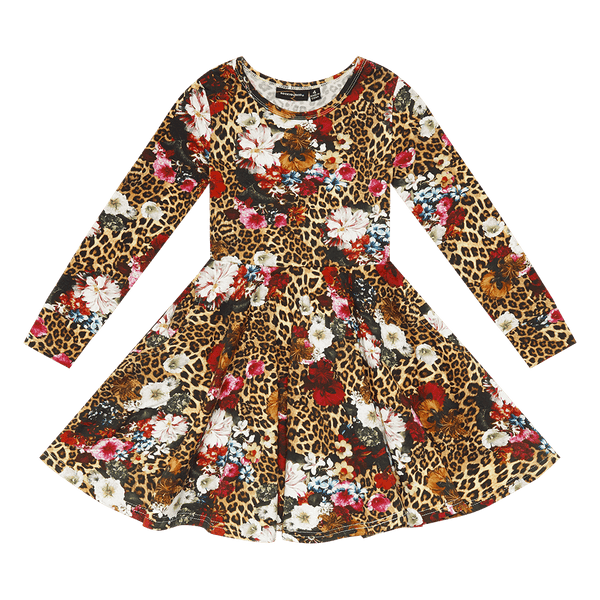 LEOPARD FLORAL WAISTED DRESS