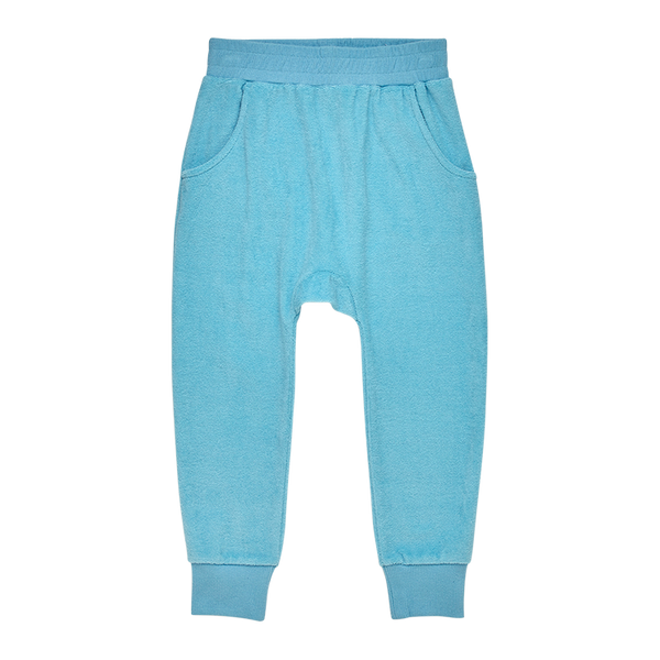 BLUE TERRY TOWELLING TRACK PANTS