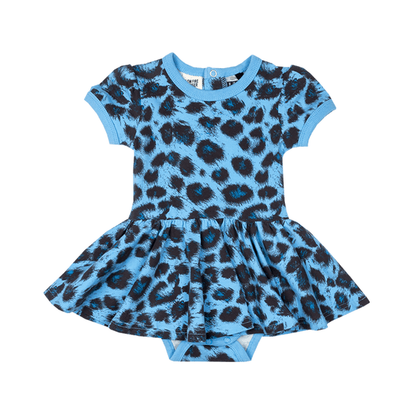 BLUE LEOPARD WAISTED DRESS