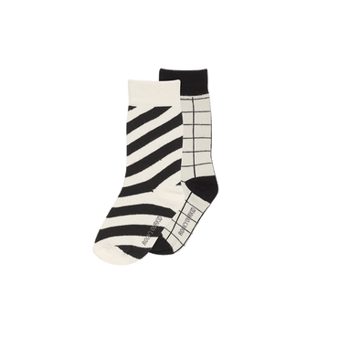 STRIPE SOCKS BLACK TWO PACK