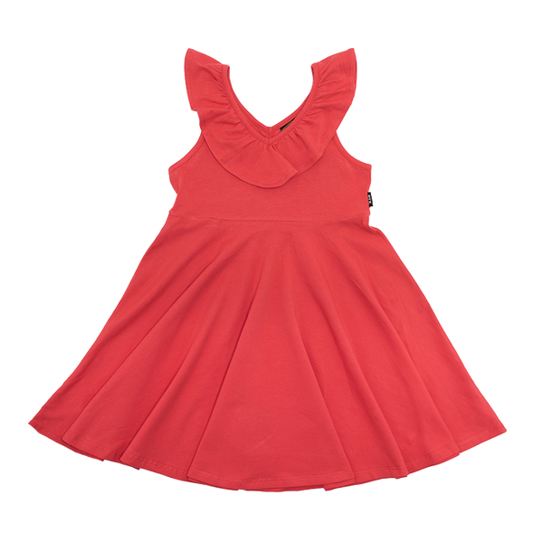 RED RUFFLE SINGLET WAISTED DRESS