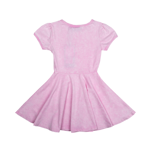SIOUXSIE ACID WASH DRESS - PINK