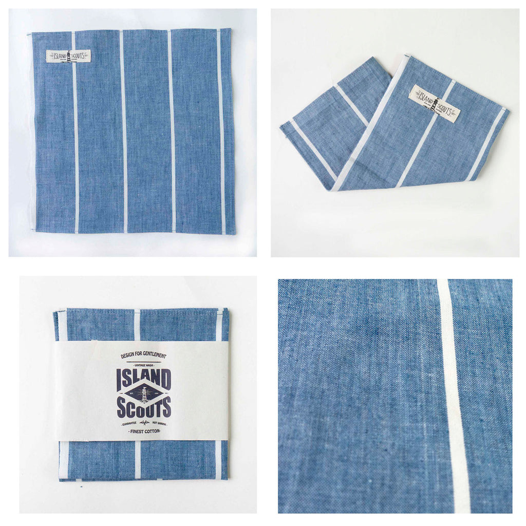 Pocket Square - Indigo Chambray Stripes