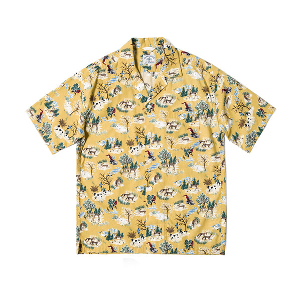 Forest Print Hawaii Shirt  - yellow