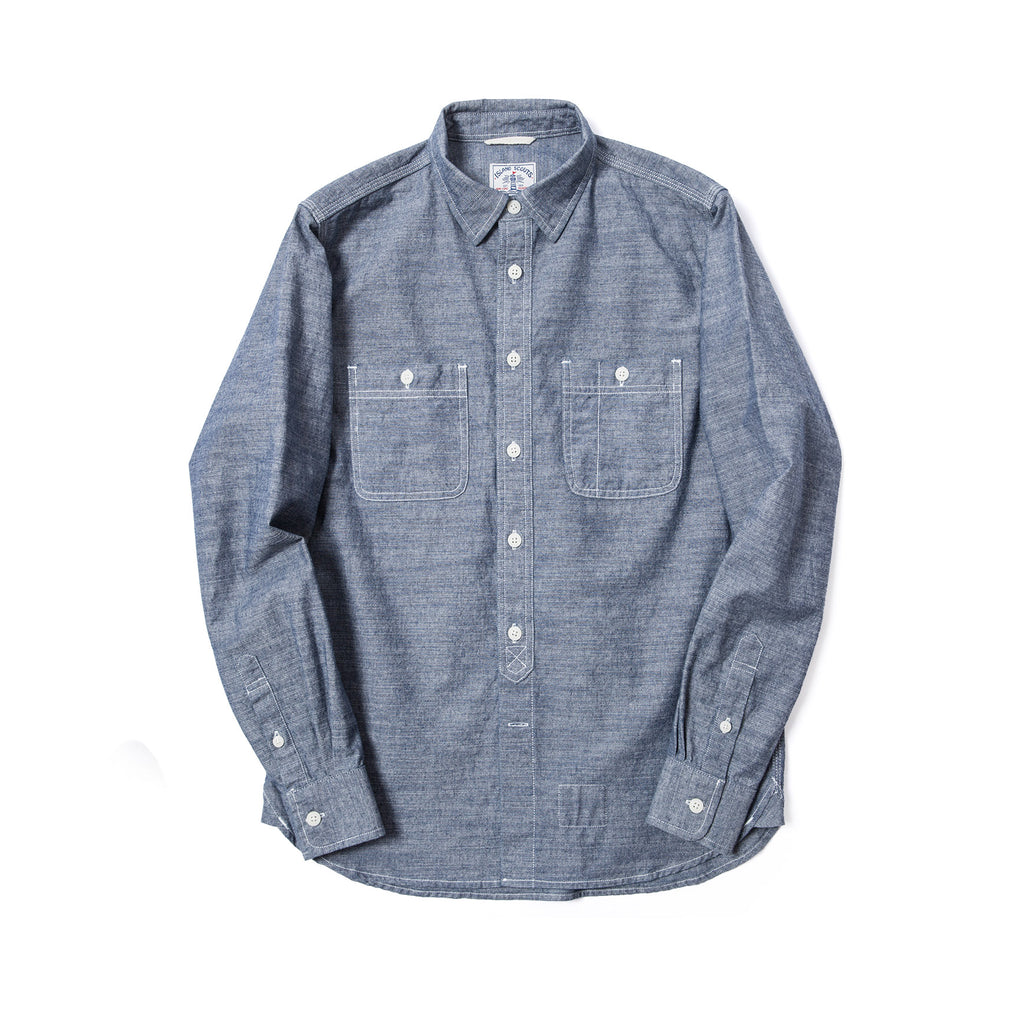 Old Textile Cotton Denim Worker Shirt in Bleached Blue