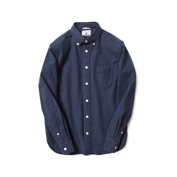 Brushed Cotton Long Sleeve Elbow Patch Shirt in Navy