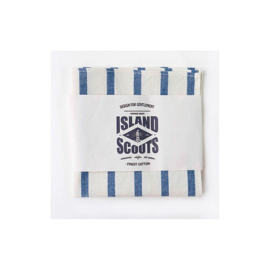 Pocket Square - Blue/White Chambray Stripes