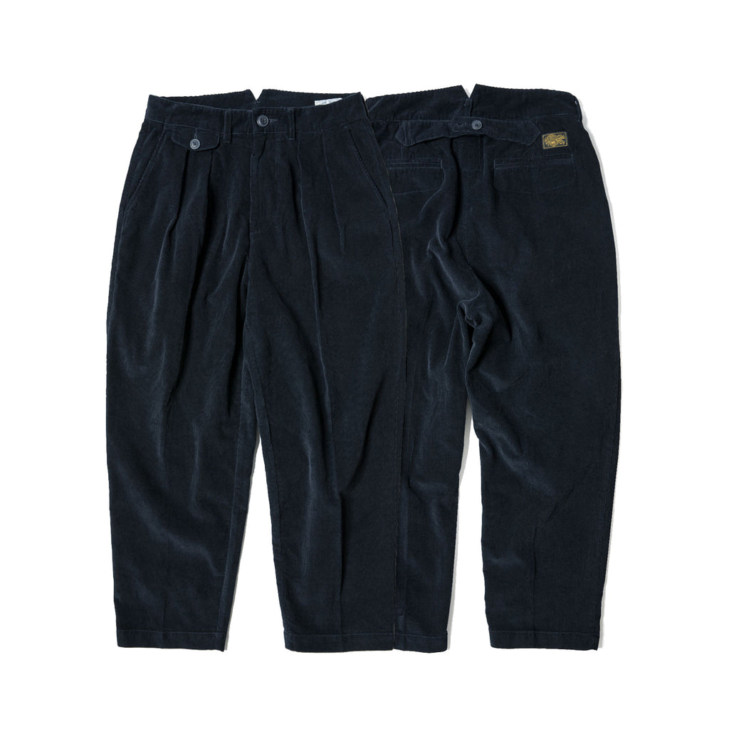 60s Cotton Corduroy Ankle Fit Work Pants - Navy