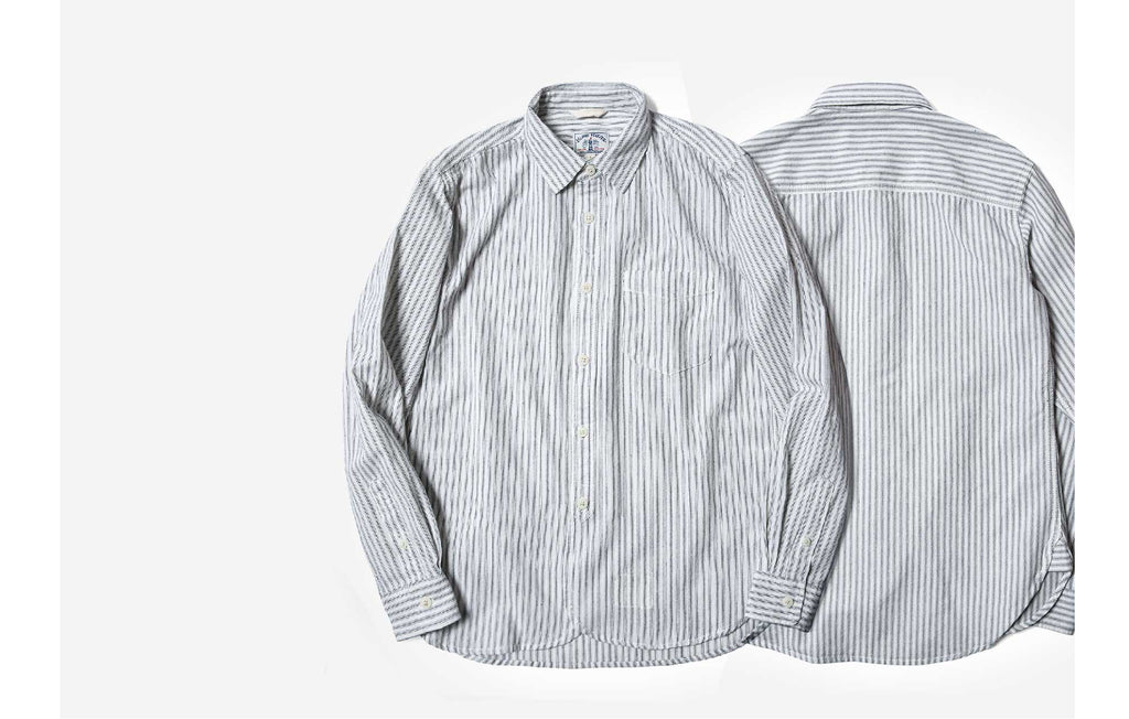 60s Old Textile Cotton Stripes Worker Shirt in Blue Stripes