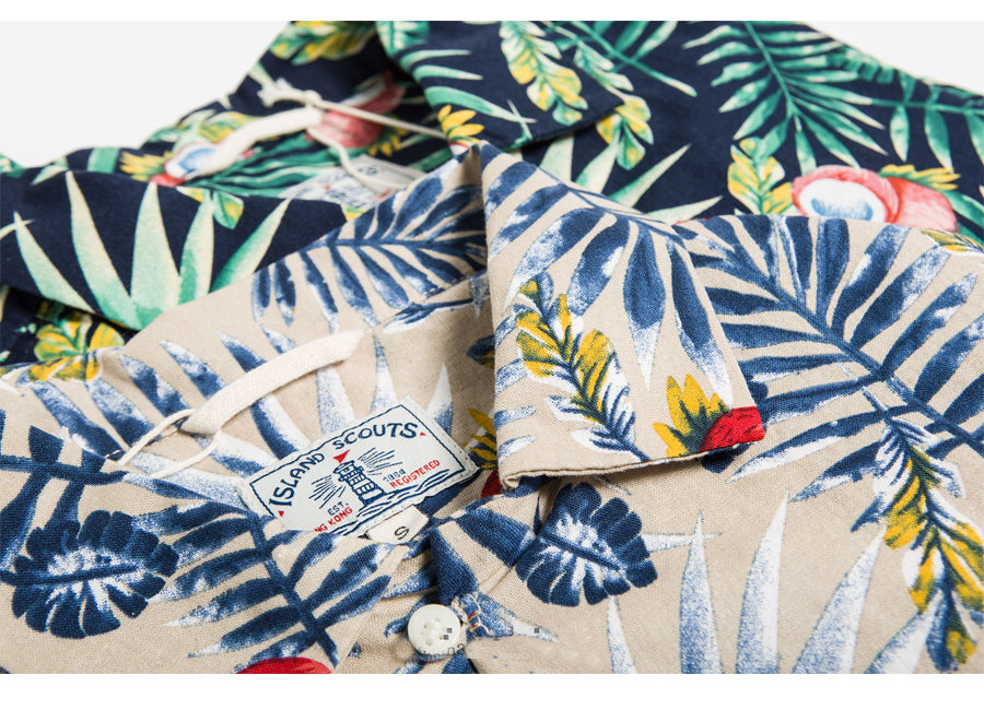 Tropical Print Hawaii Shirt  - Beige