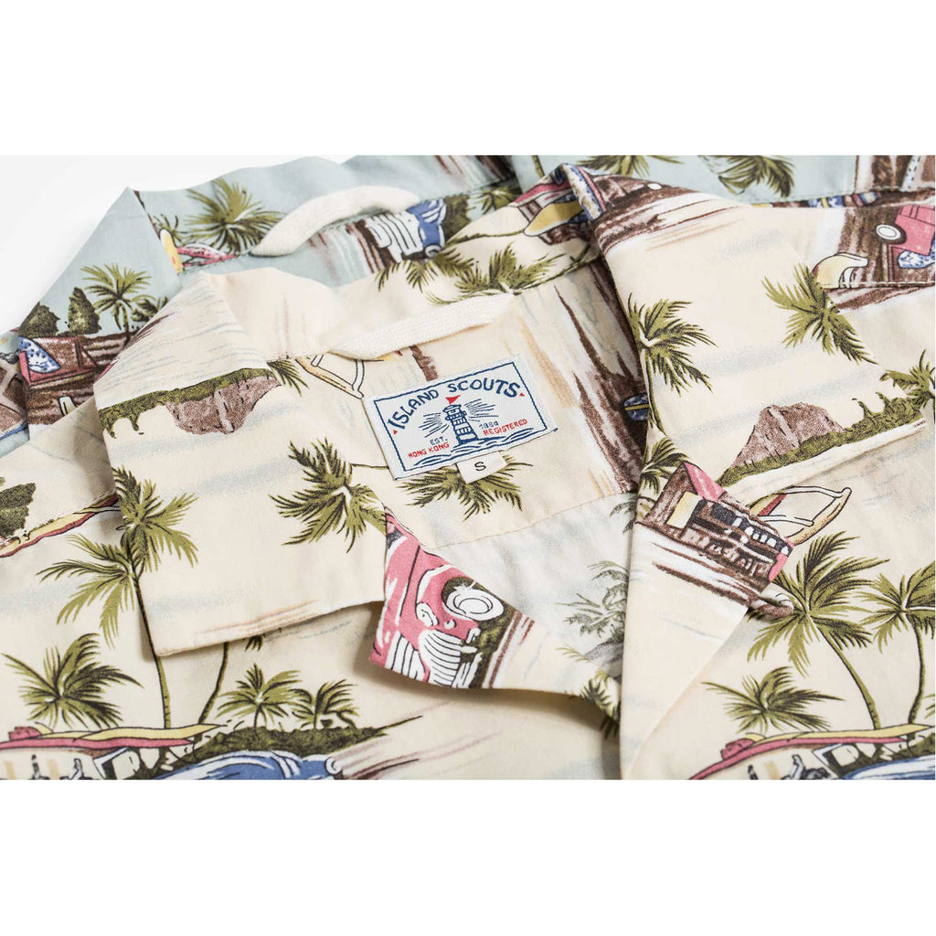 Beach Print Hawaii Shirt  -Beige