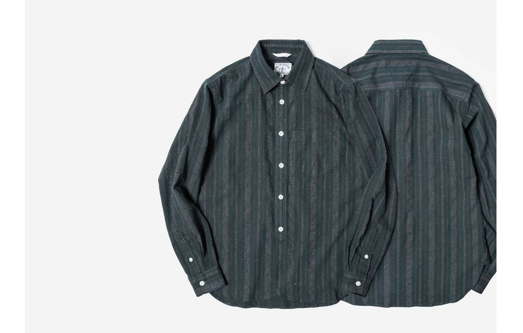 60s Old Textile FlannelCotton Stripes Worker Shirt in Green