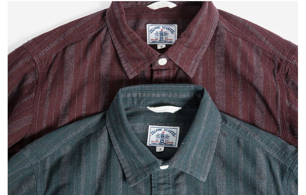 60s Old Textile FlannelCotton Stripes Worker Shirt in Burgundy