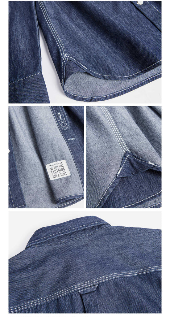 Old Textile Cotton Denim Worker Shirt in Indigo Blue