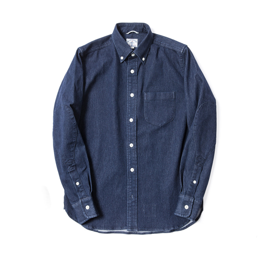 Stretch Denim  Long Sleeve Elbow Patch Shirt in Navy
