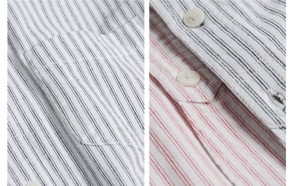 60s Old Textile Cotton Stripes Worker Shirt in Red Stripes