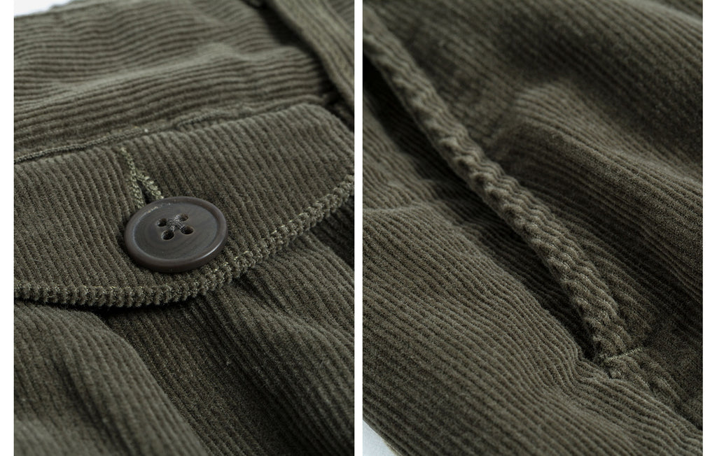60s Cotton Corduroy Ankle Fit Work Pants - Olive