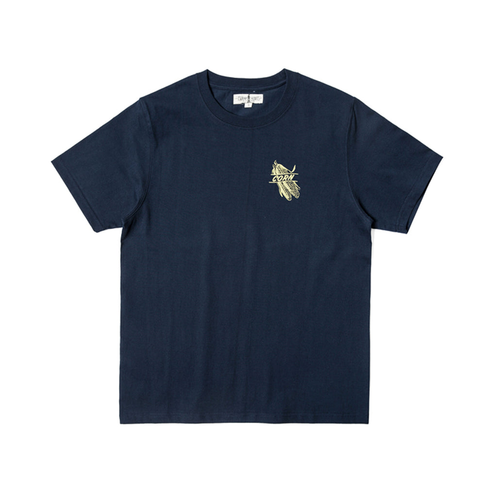 280g Cotton Tubular Tee With Corn Print in Navy