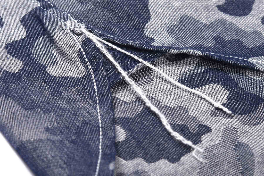 Yarn Dyed Blue Camouflage Long Sleeve Worker Shirt