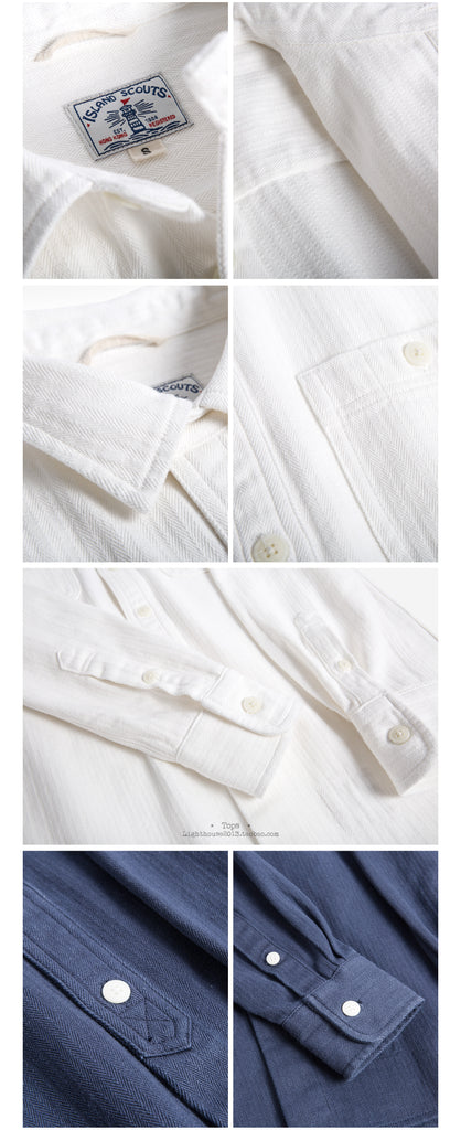 Vintage Cotton Herringbone Worker Shirt in White