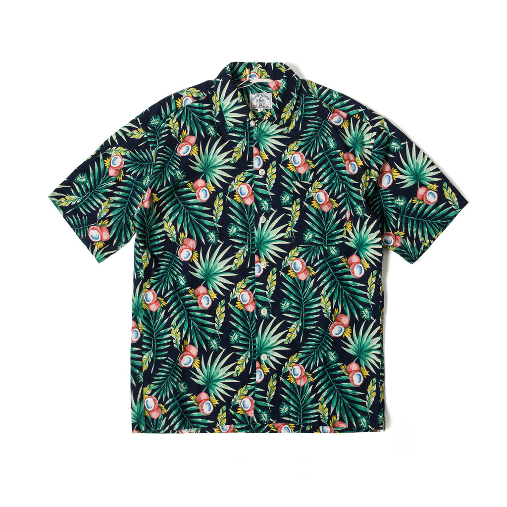 Tropical Print Hawaii Shirt  - Black