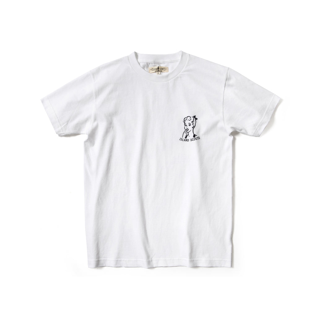 Island Scouts Tubular Cotton Tee In Lady Print in White/Navy