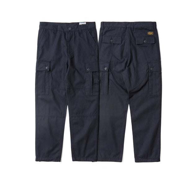Cotton Herringbone Work Pants - Navy