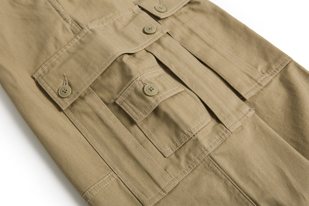 Cotton Herringbone Work Pants - Brown