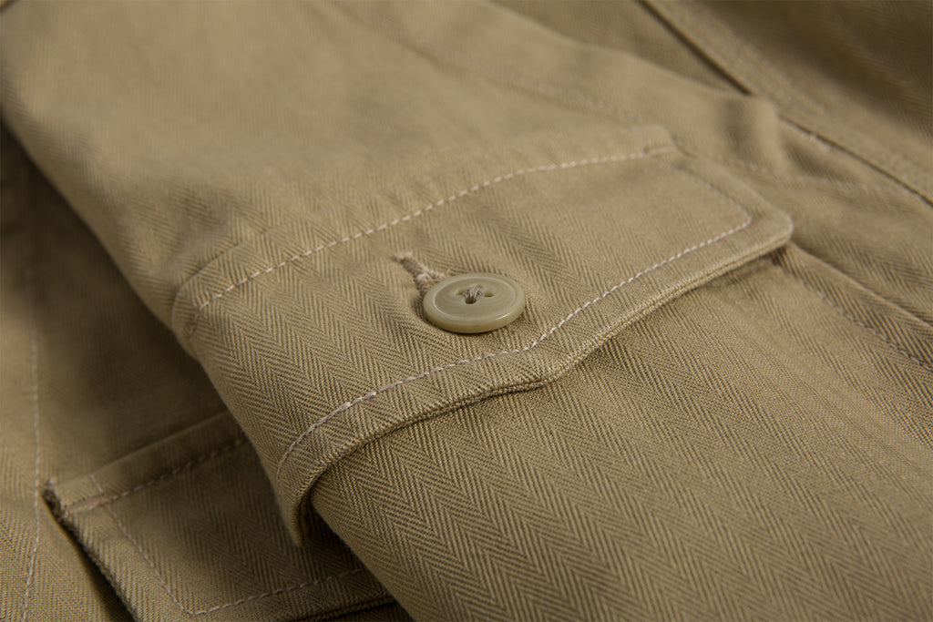 Cotton Herringbone Work Shorts - Brown