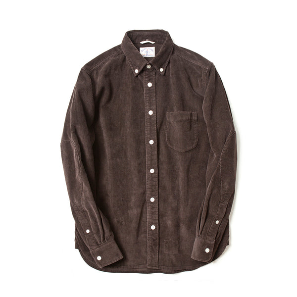 Corduroy Long Sleeve Elbow Patch Shirt in Brown
