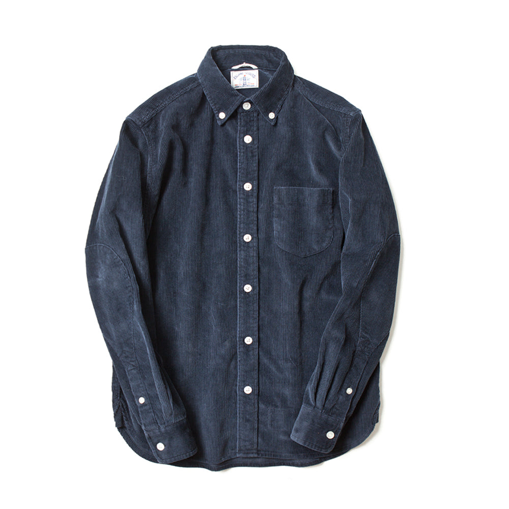 Corduroy Long Sleeve Elbow Patch Shirt in Navy