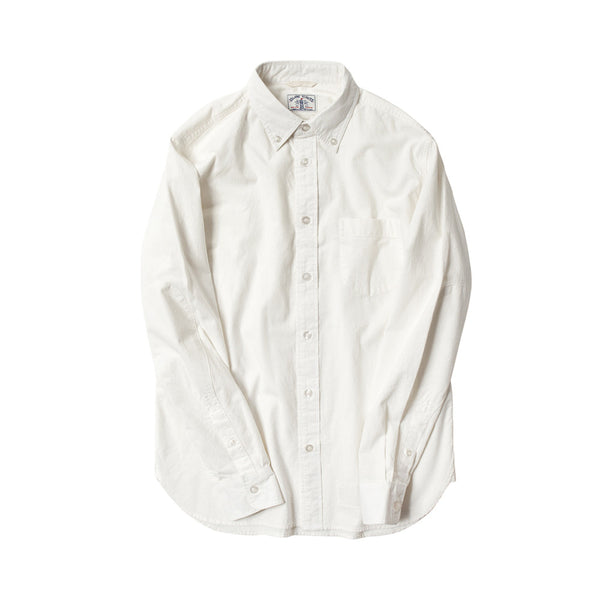 Japanese Organic Cotton Long Sleeve Elbow Patch Shirt in White