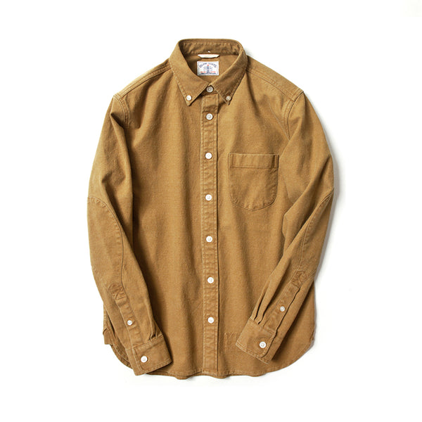 Brushed Cotton Long Sleeve Elbow Patch Shirt in Mustard