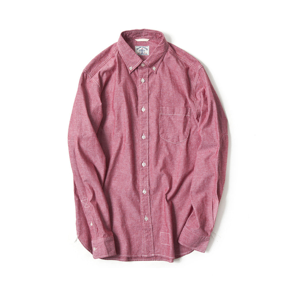 Japanese Chambray Long Sleeve Elbow Patch Shirt in Red