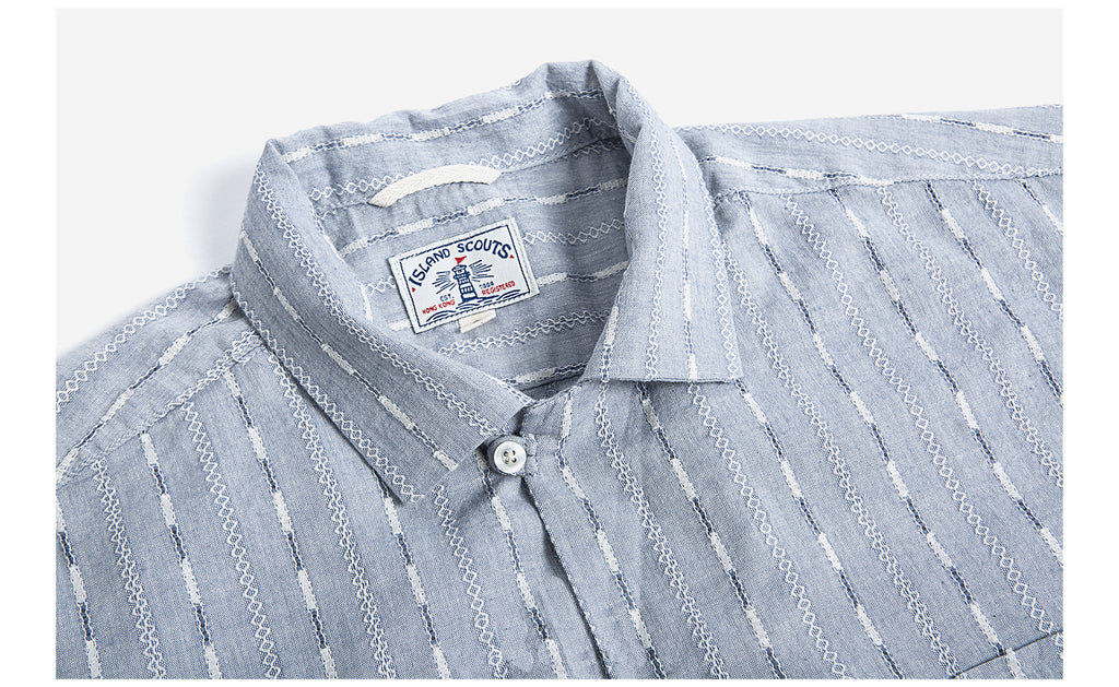 Cotton Mixed Linen Jacquard Stripes Palaka Shirt - Blue