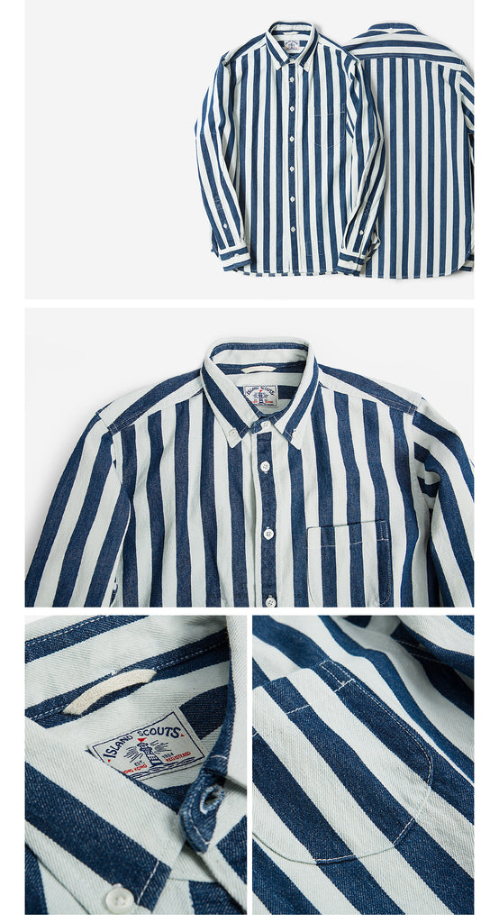 Dark Indigo Denim Stripes Cotton Long Sleeve Elbow Patch Shirt