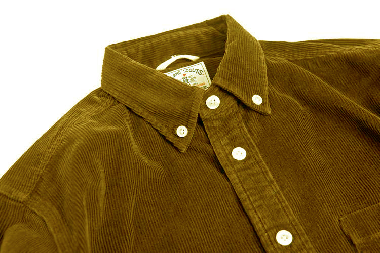 Corduroy Long Sleeve Elbow Patch Shirt in Dark Mustard