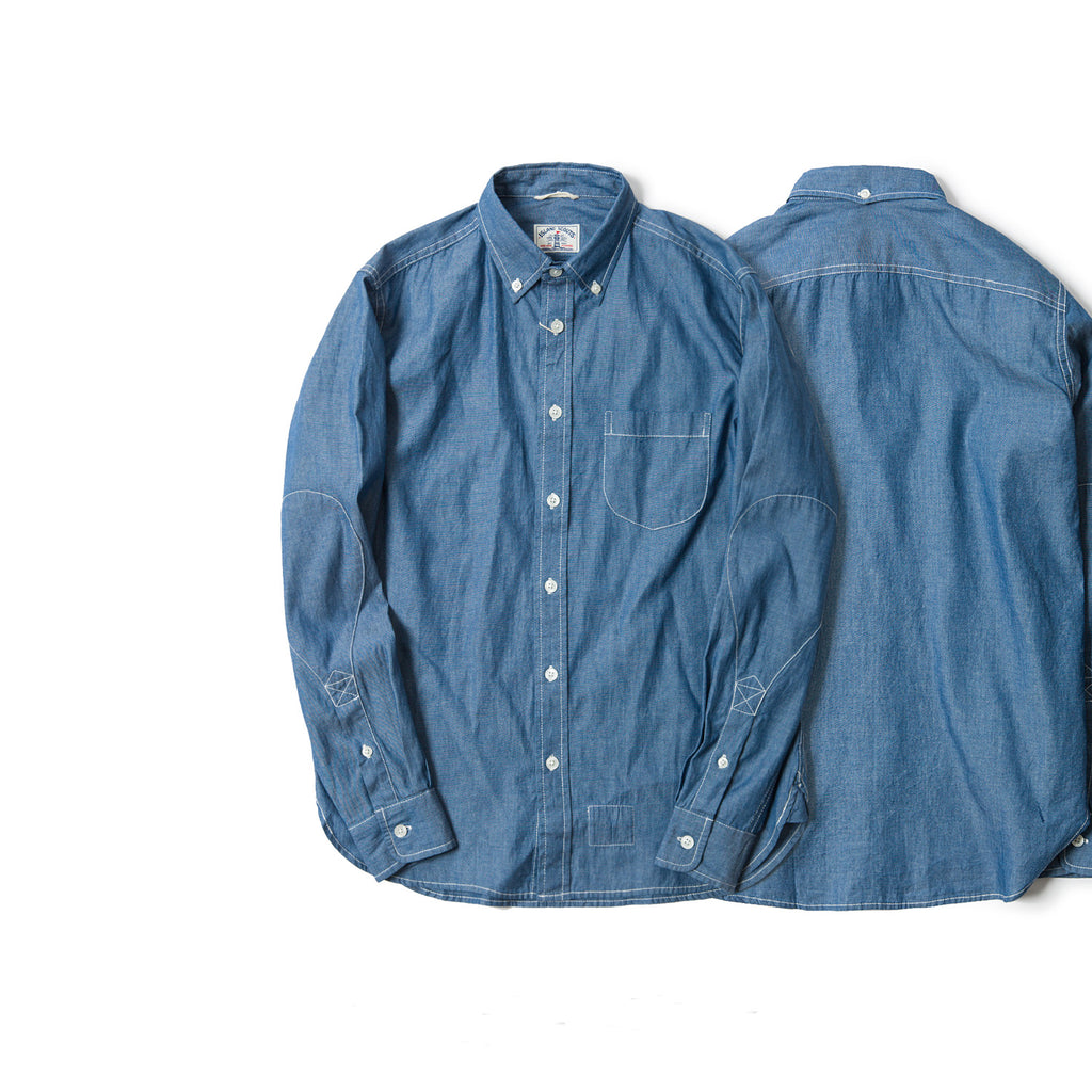 Old Textile Chambray Long Sleeve Elbow Patch Shirt in Indigo Blue