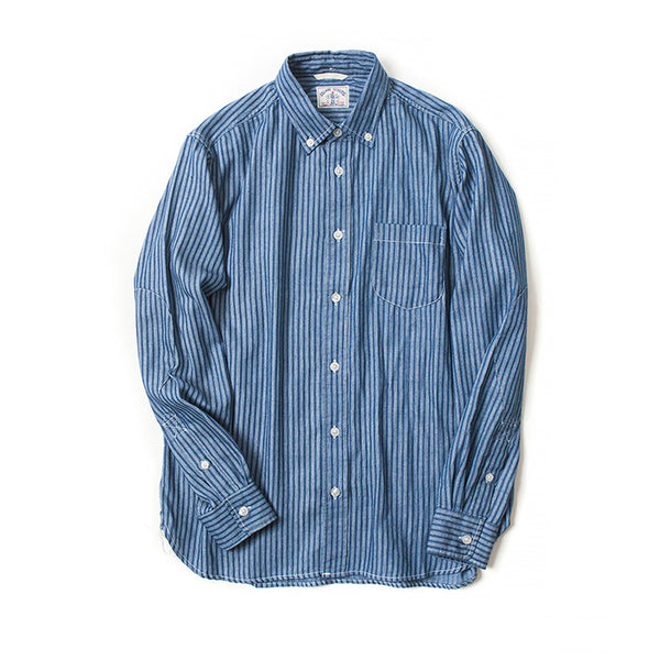 Stripes Discharge Print Long Sleeve Dark Indigo Shirt