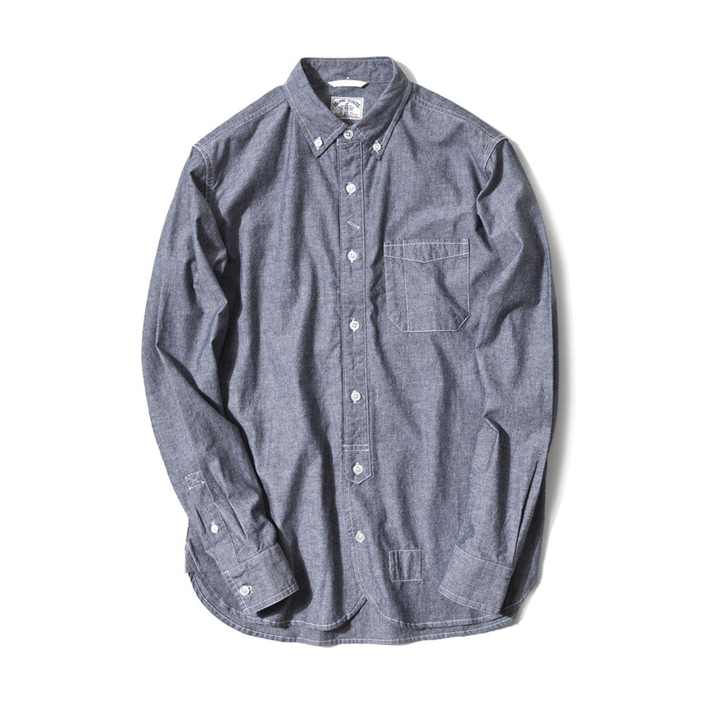 Japanese Charmbray Long Sleeve Worker Shirt In Black