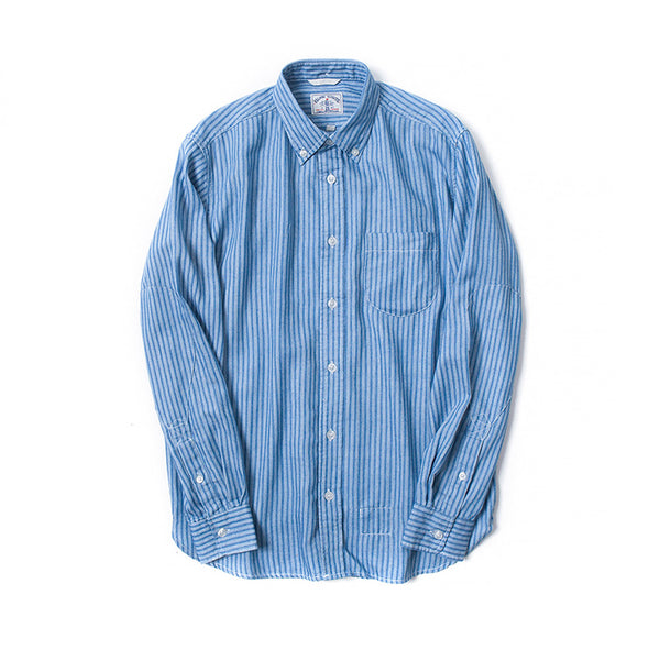 Stripes Discharge Print Long Sleeve Indigo Shirt
